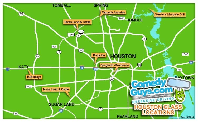 map of comedy guys houston defensive driving class locations